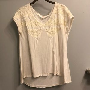 Cream Embroidered Sun & Shadow Top